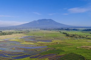 A volcanic landscape in West Sumatra, Indonesia