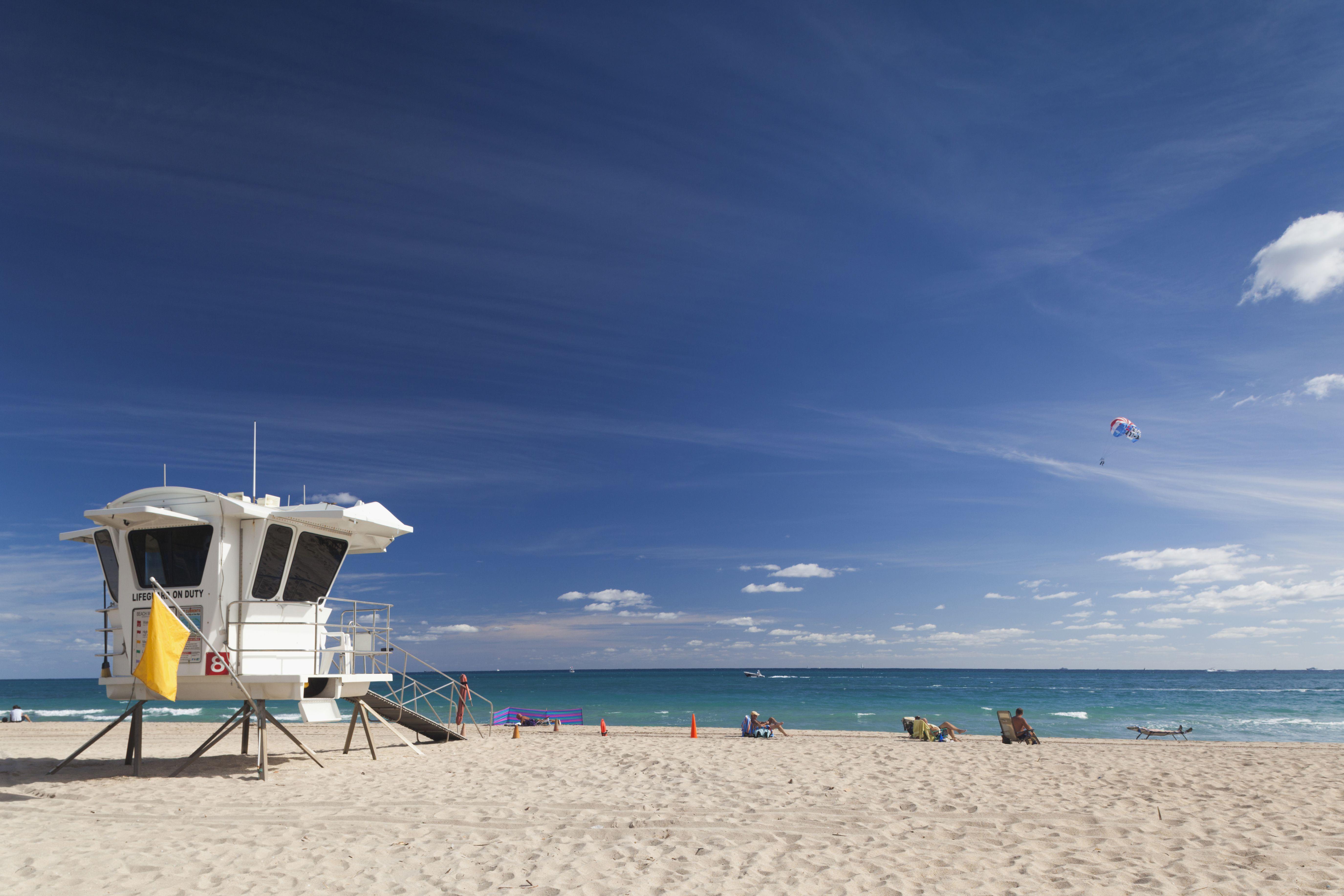 Lifeguard tower at Fort Lauderdale Beach, Fort Lauderdale, Florida, USA