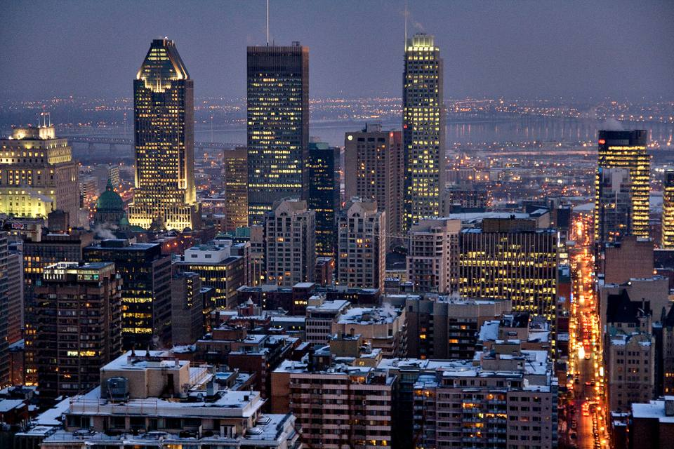 Night view of Montreal, Canada, downtown
