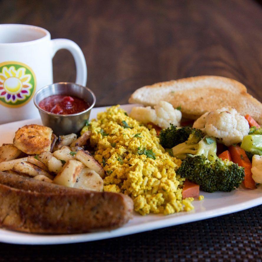 Brunch meal at Violette's Vegan Cafe
