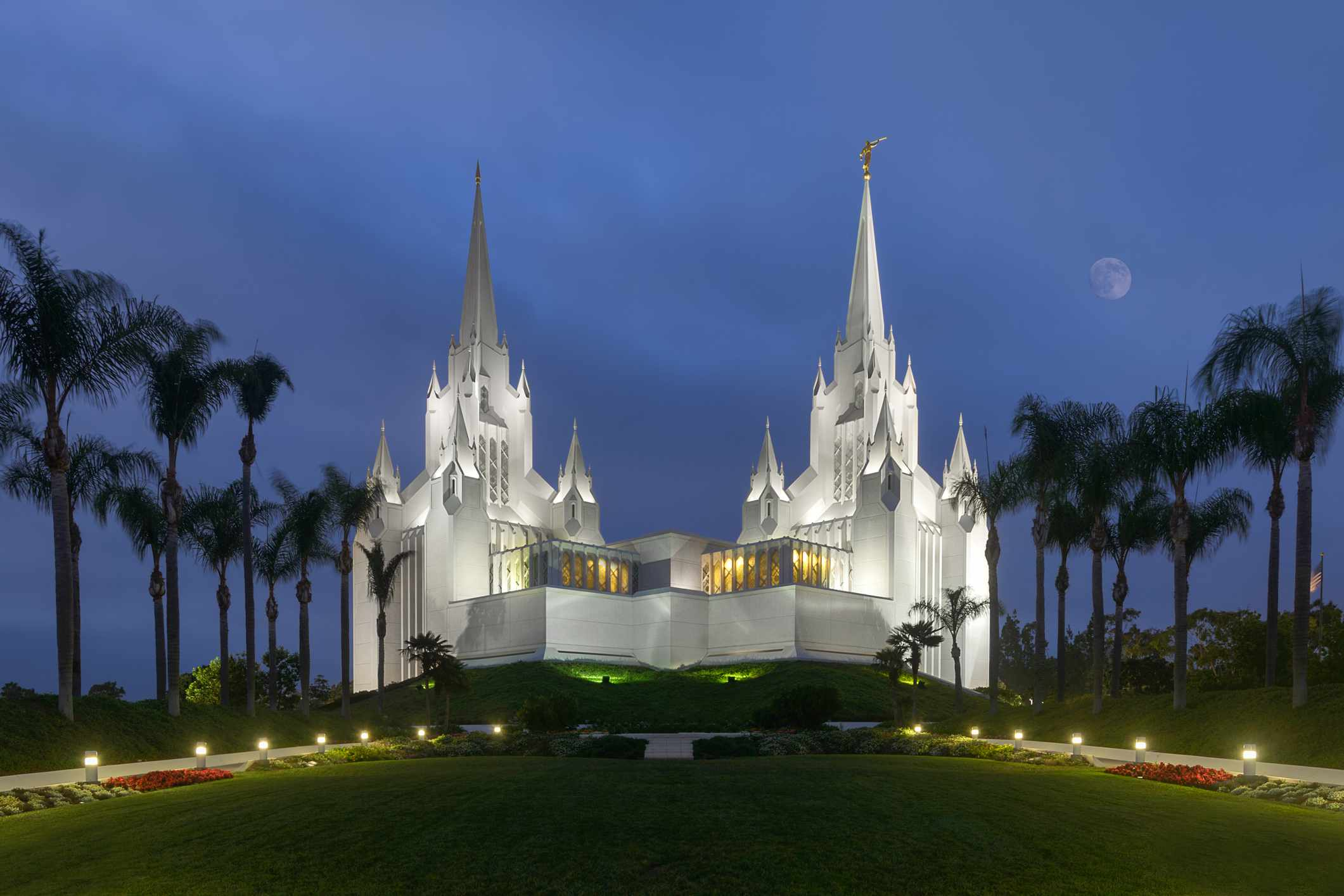 California Mormon Temple at night in California