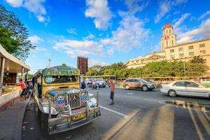 Jeepney waiting for passengers in front of Manila City Hall