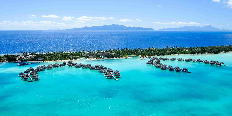 Aerial shot of the InterContinental Bora Bora Resort Thalasso Spa