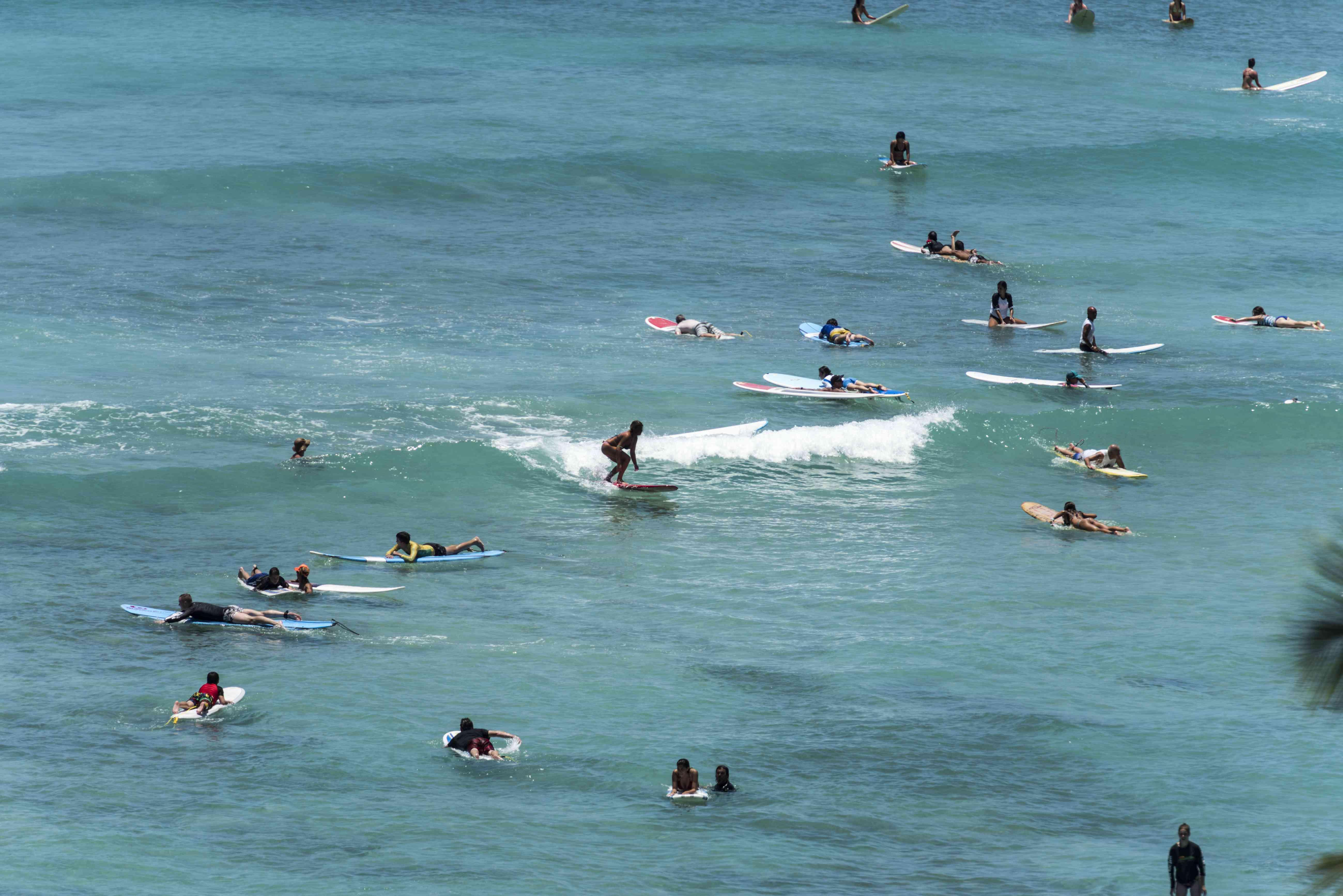 Surfing on Waikiki Beach