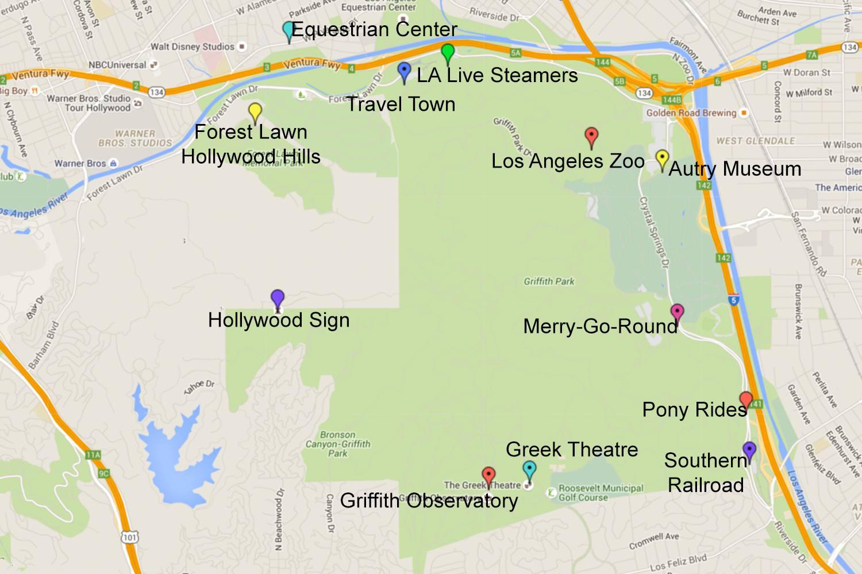 Mapa de Griffith Park, Los Ángeles