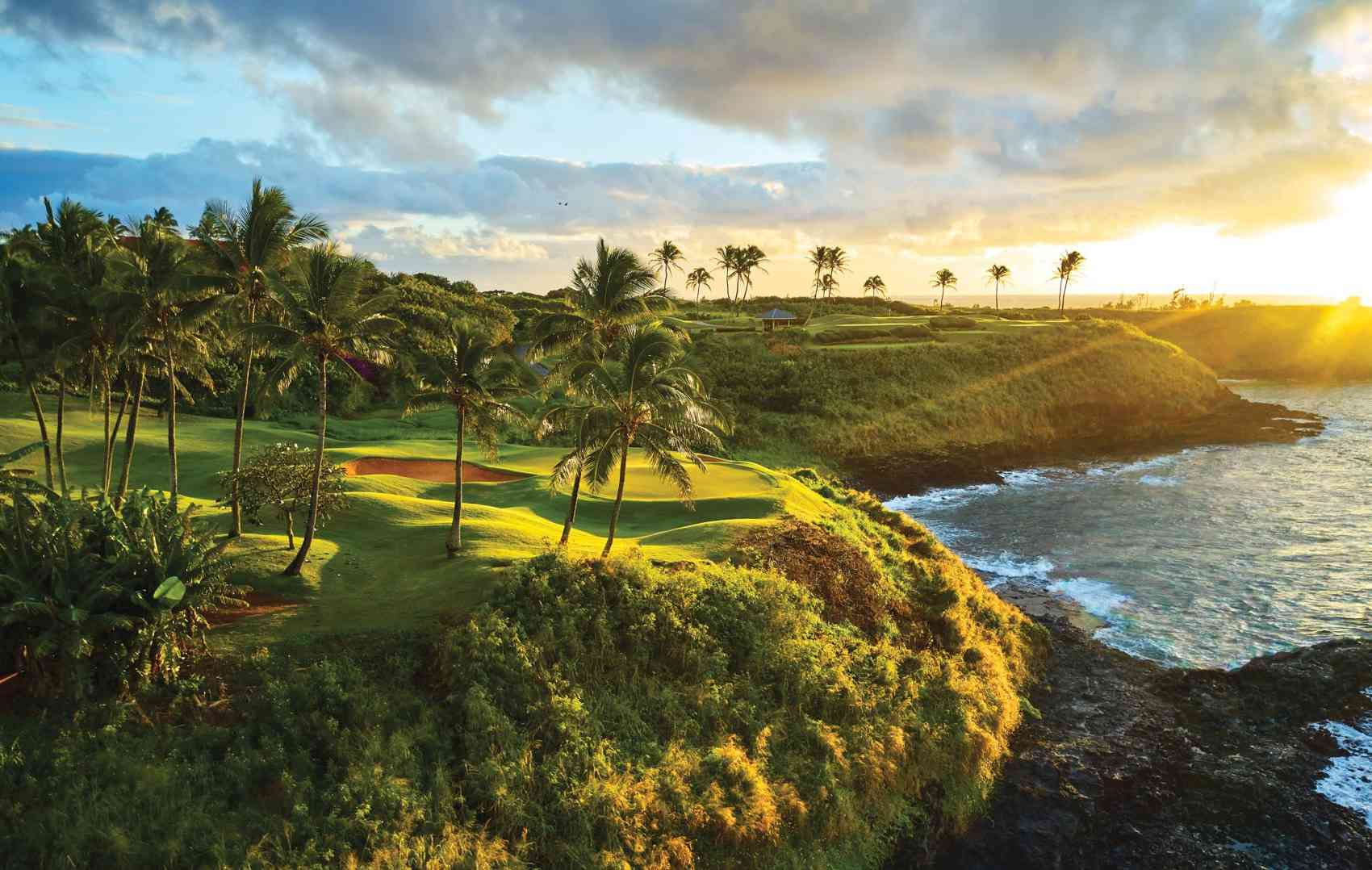 aerial view of a golf course with palm trees at sunset