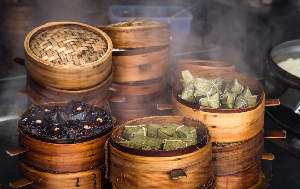 Traditional Chinese food steamed in bamboo