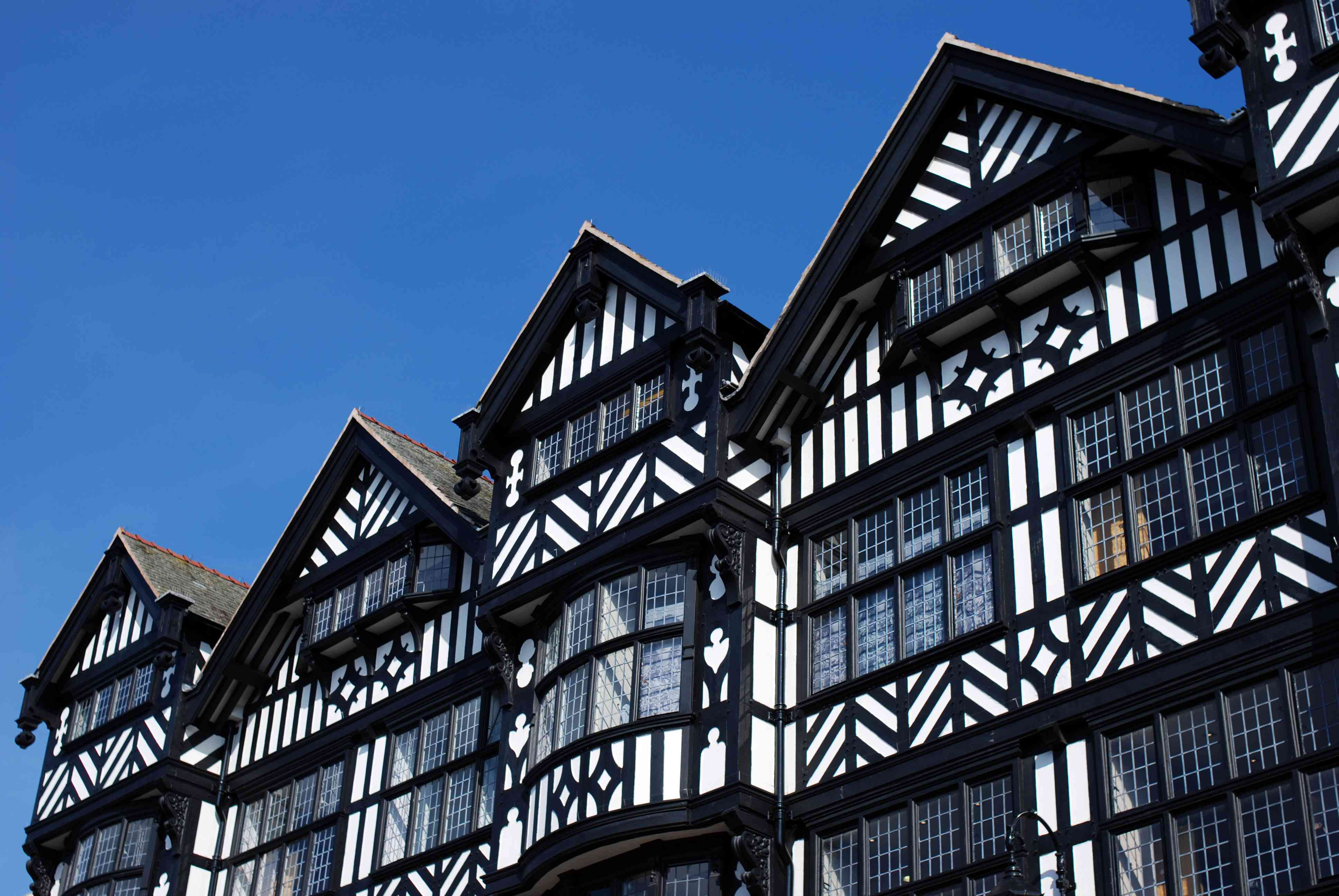 low angle view of the black and white Chester architecture