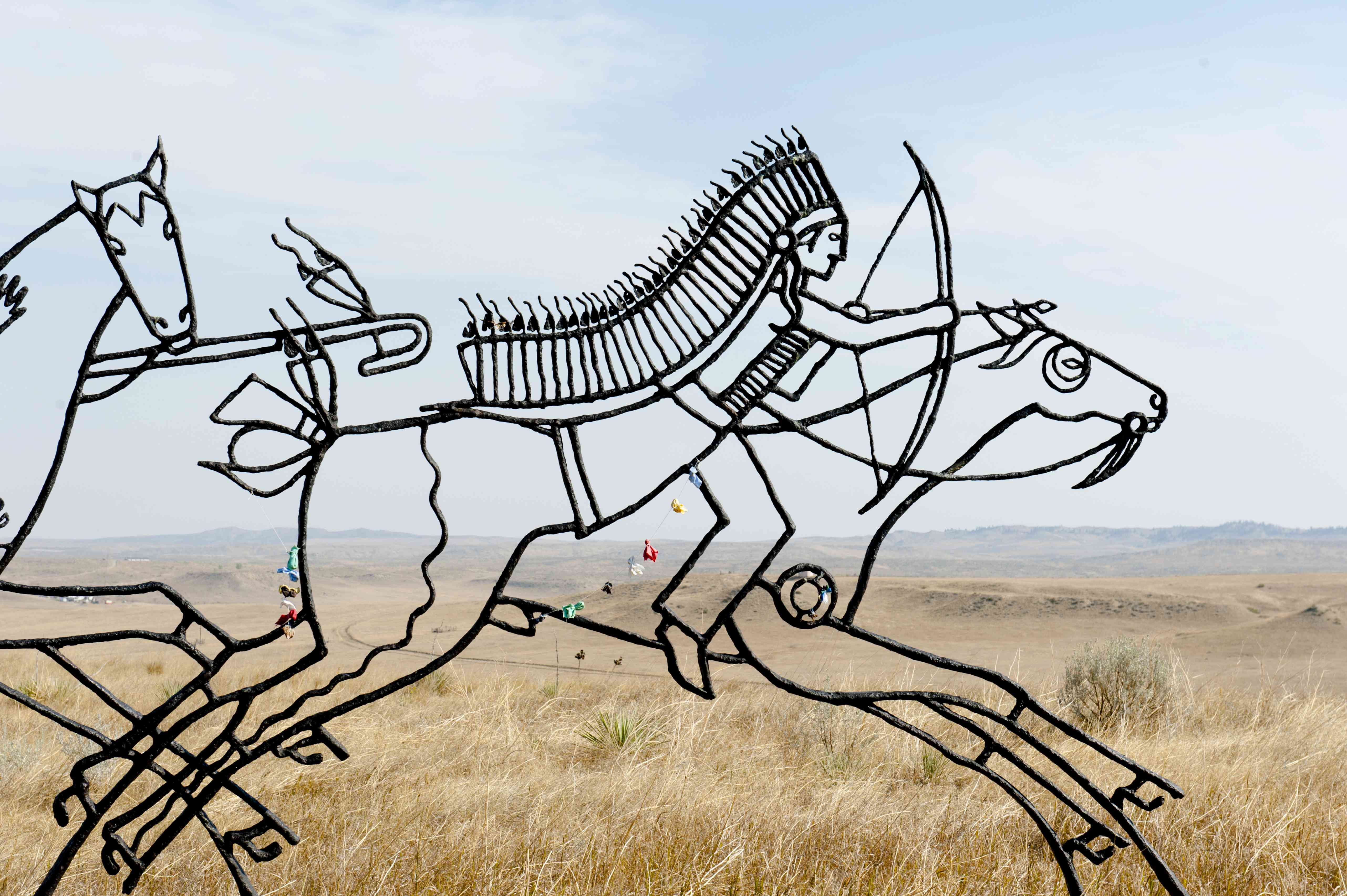 Monument, Indian Memorial, Sioux Indian riding a horse, Little Bighorn Battlefield National Monument, Montana Province, USA