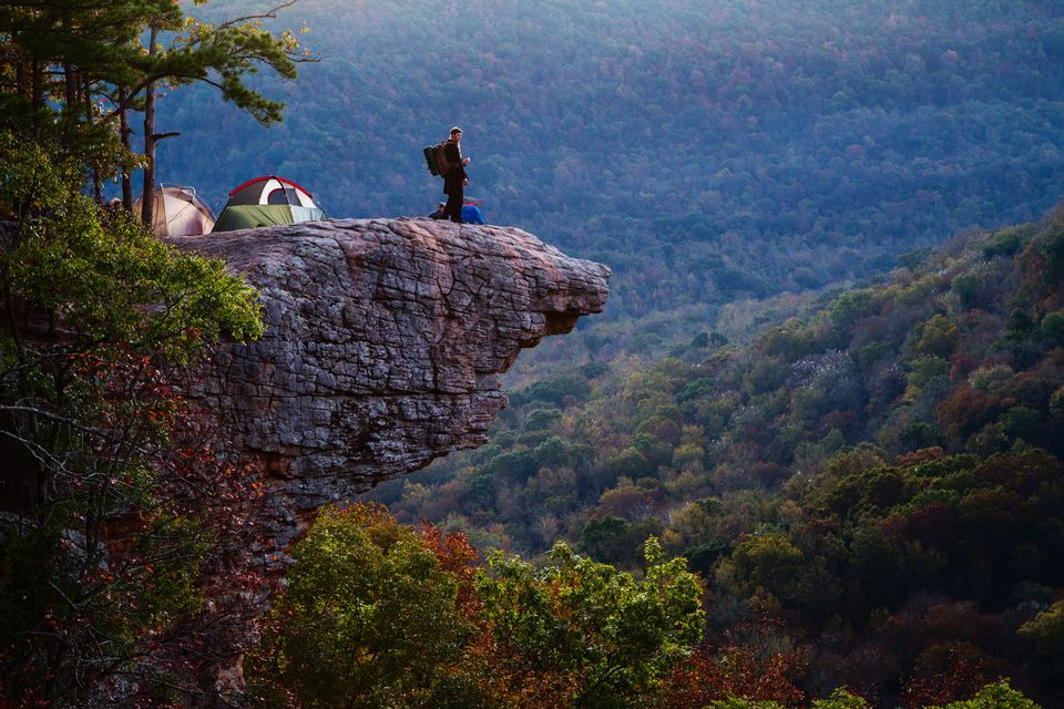Campers on top of Hawksbill Crag near the Buffalo National River
