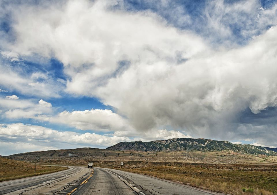 Wyoming Roadway to Casper with Clouds
