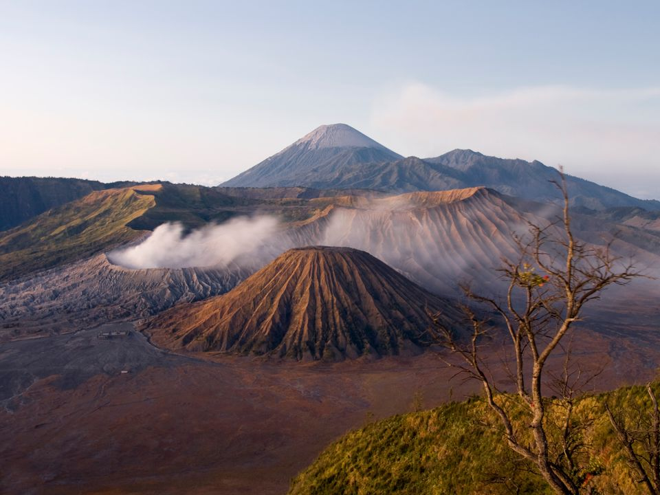 Smoke streams from Gunung Bromo Volcano, Indonesia