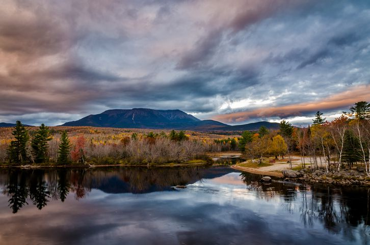 Mount Katahdin in Maine, reflected on water