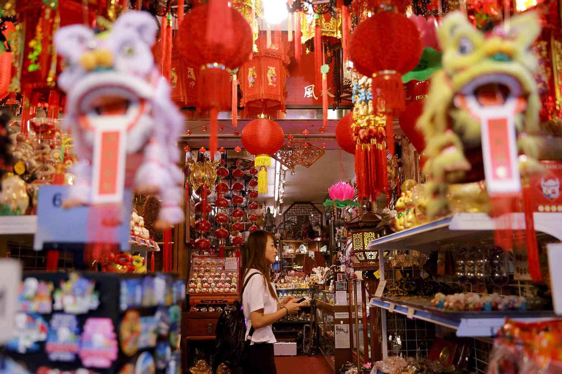 Browsing at Chinatown shop in Singapore