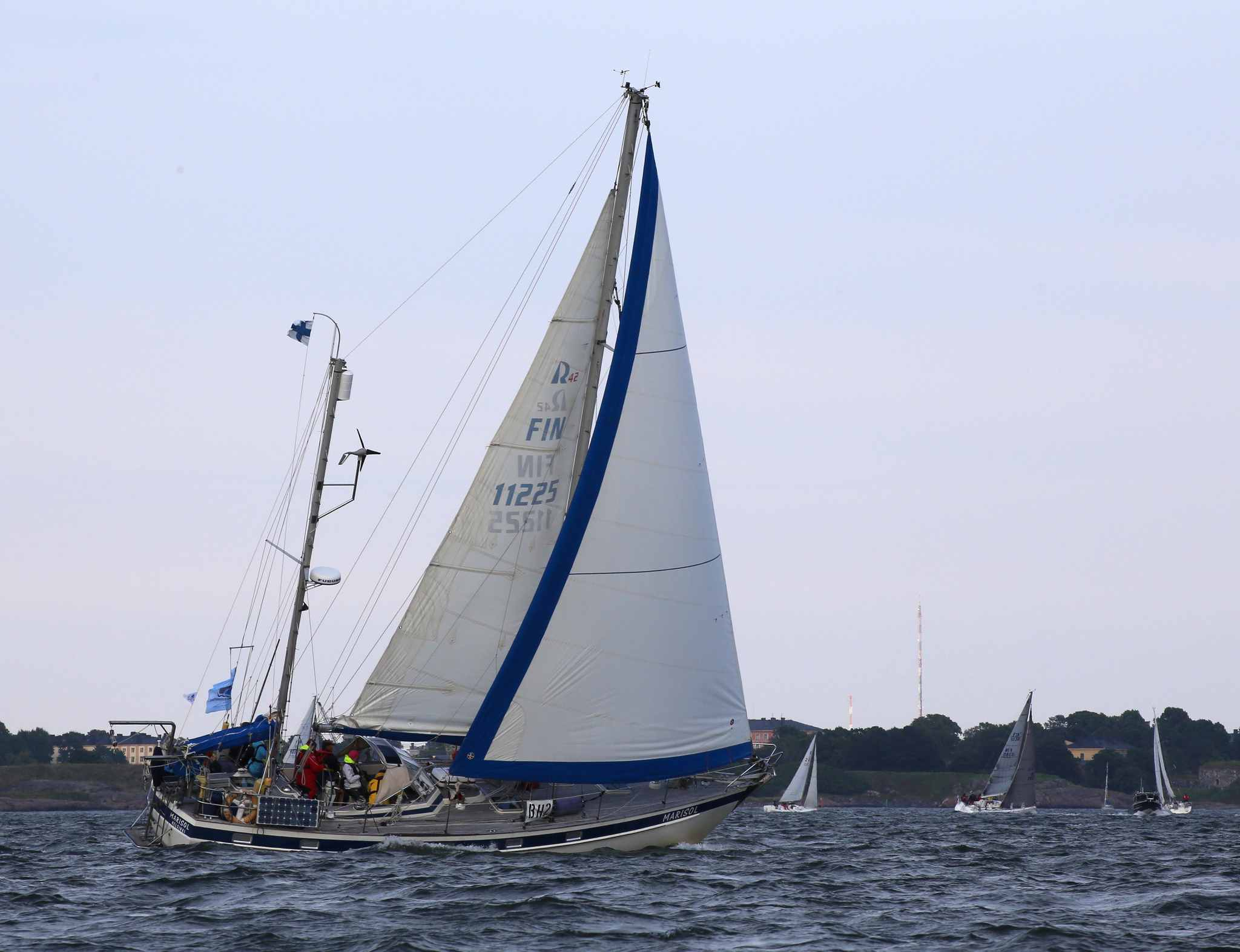 Hallberg-Rassy 42 Ketch sailing on the water