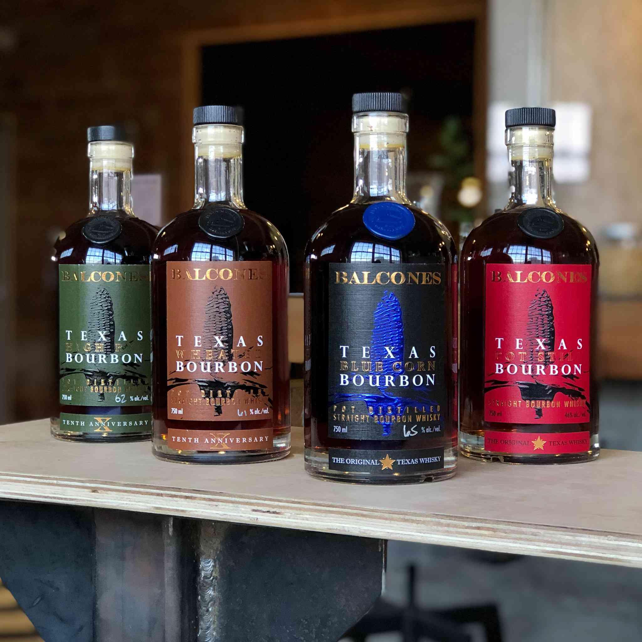 Four bottles of Bourbon from Balcones distillery