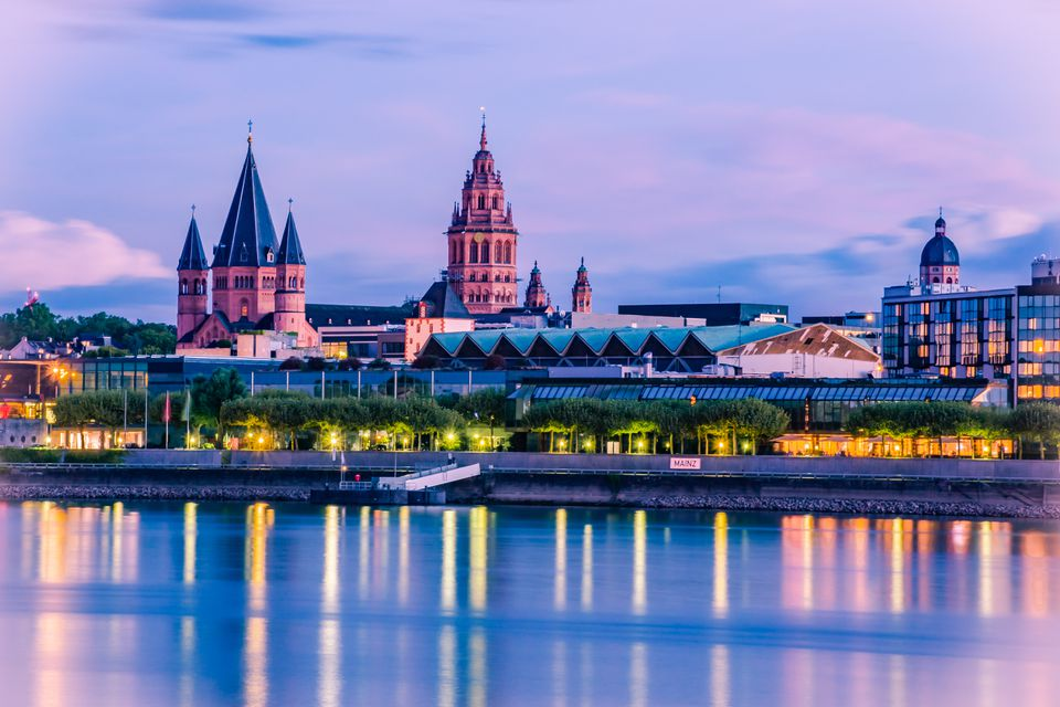 cityscape of Mainz in the blue hour with Mainzer Dom