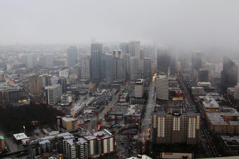 Overhead shot of rainy Seattle