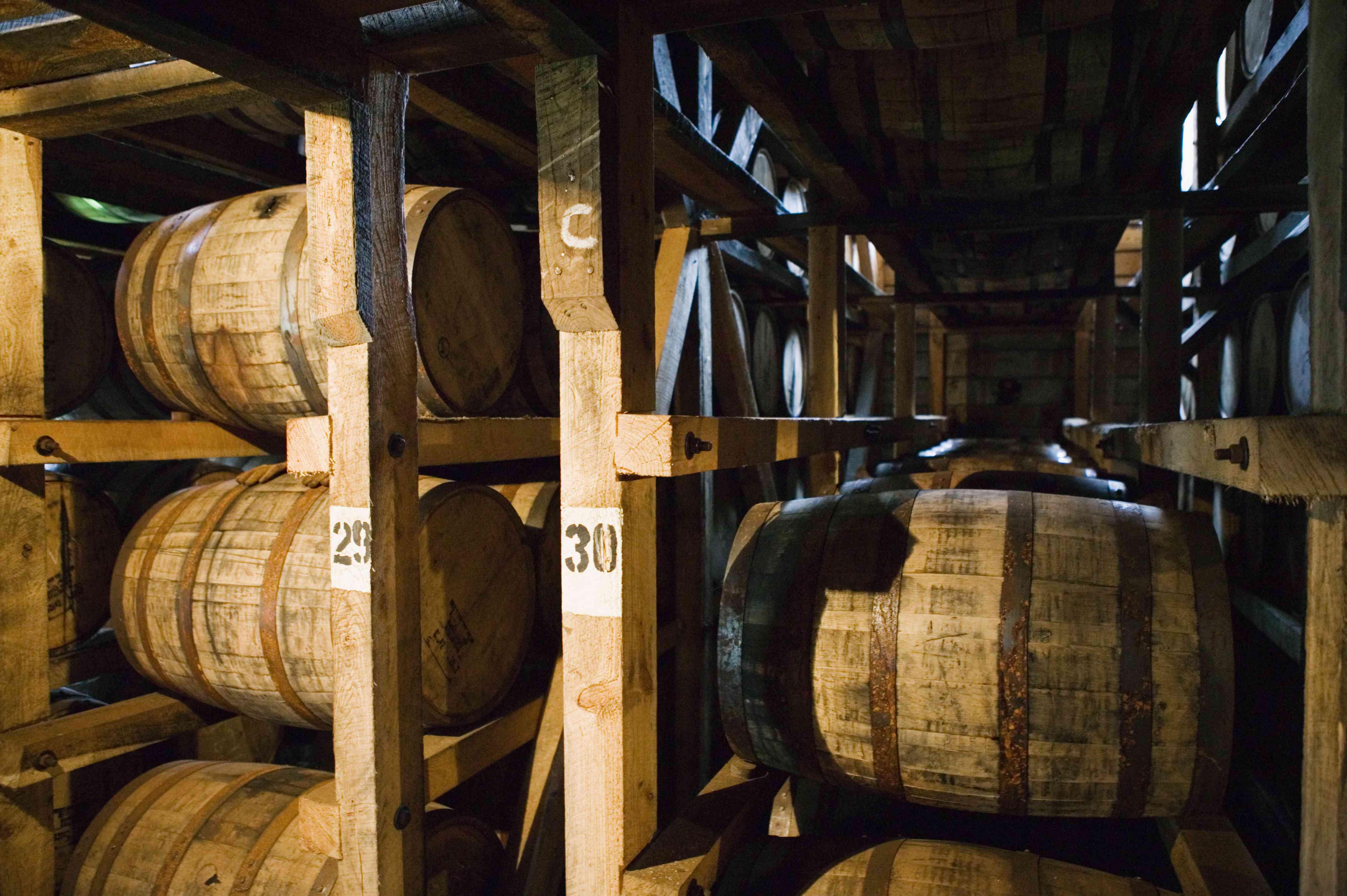 Aging bourbon in barrels, Maker's Mark Bourbon Distillery