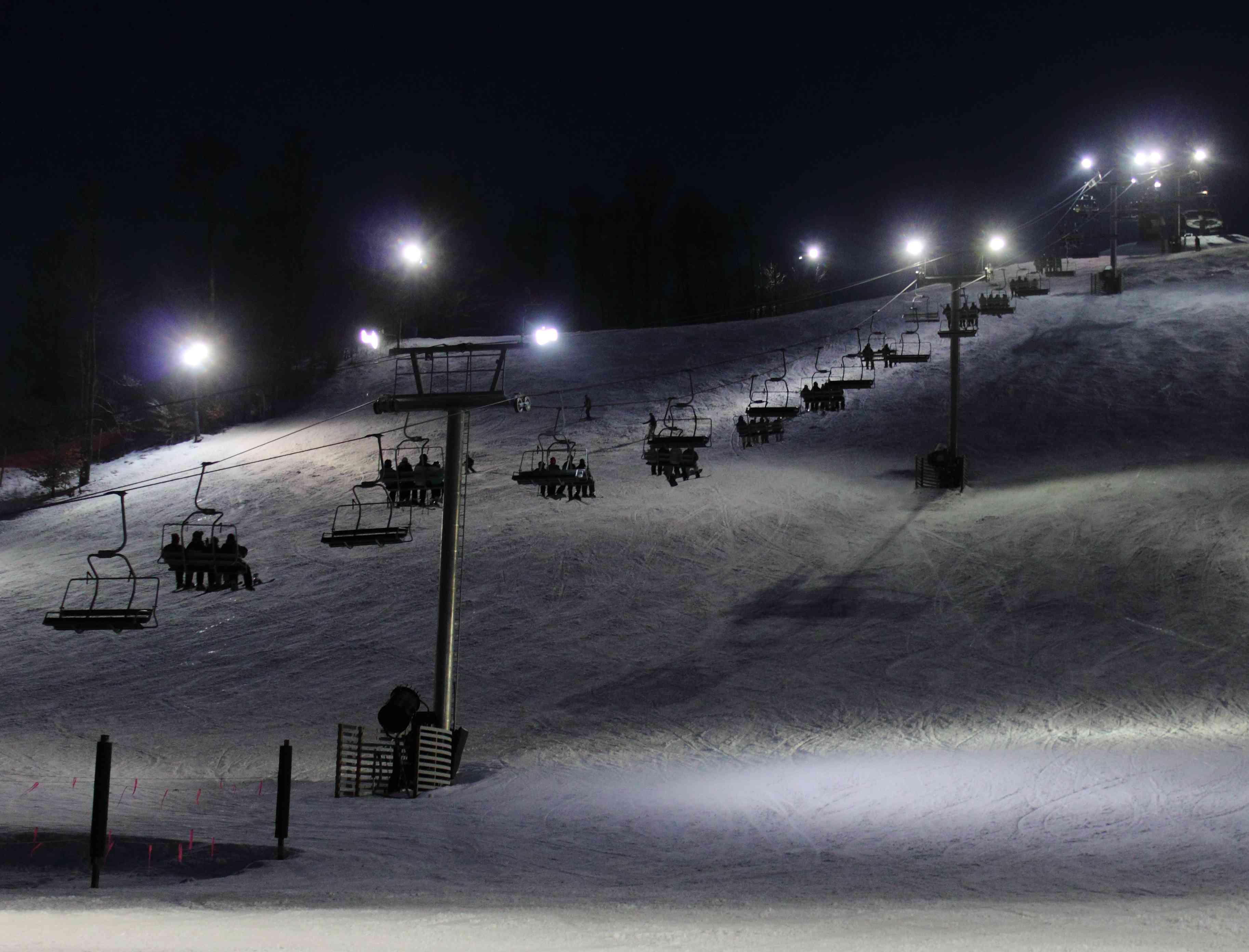 Winter Ski Slope at Night
