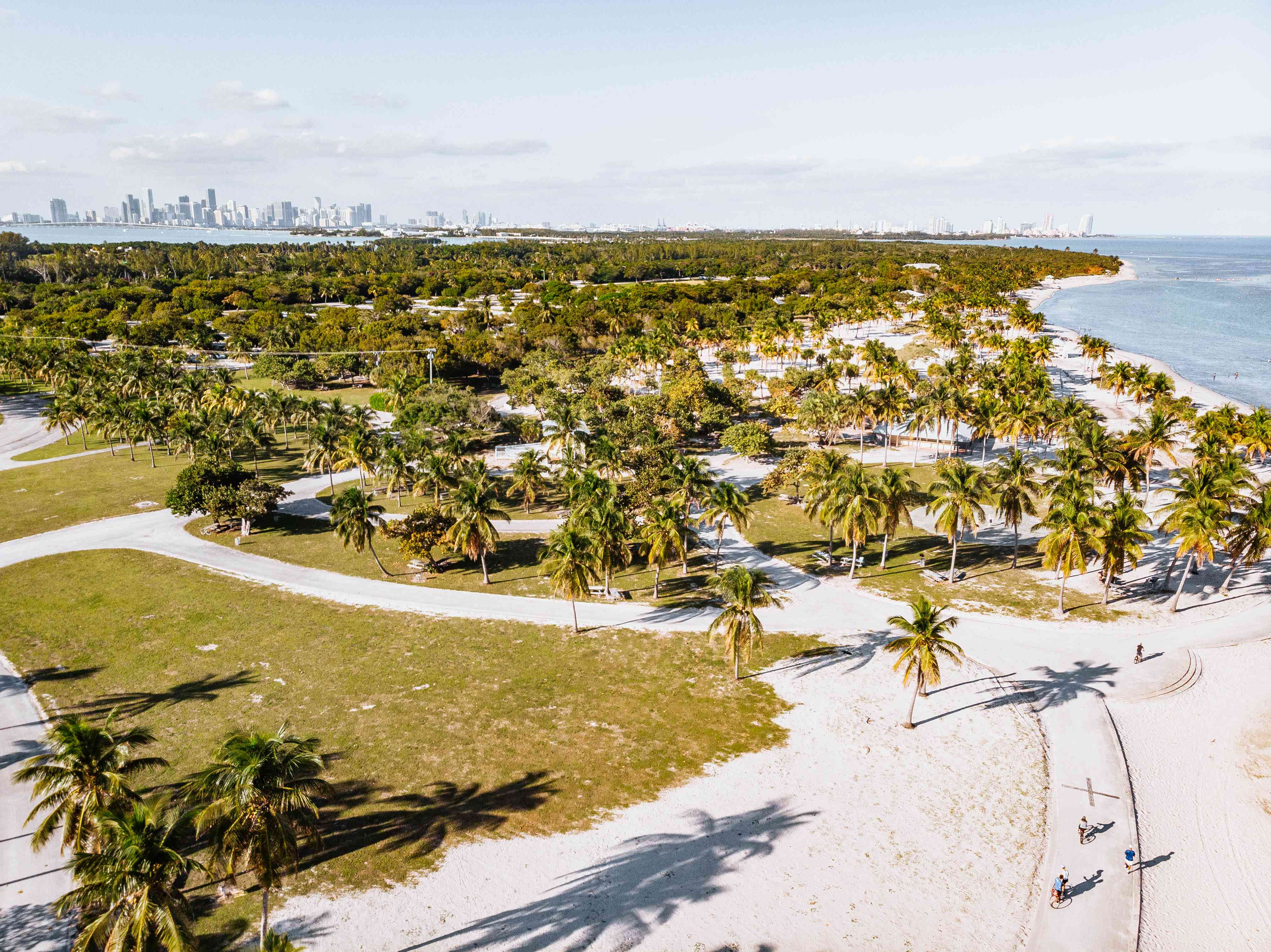 Drone view of Crandon Park in Key Biscayne beach and the Miami skyline.