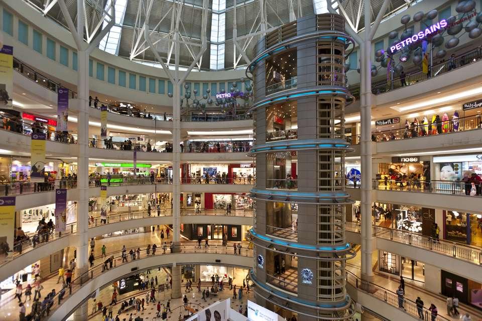 Interior of Suria KLCC, a big shopping mall in Kuala Lumpur