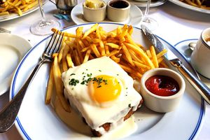 Croque madame and french fries for breakfast