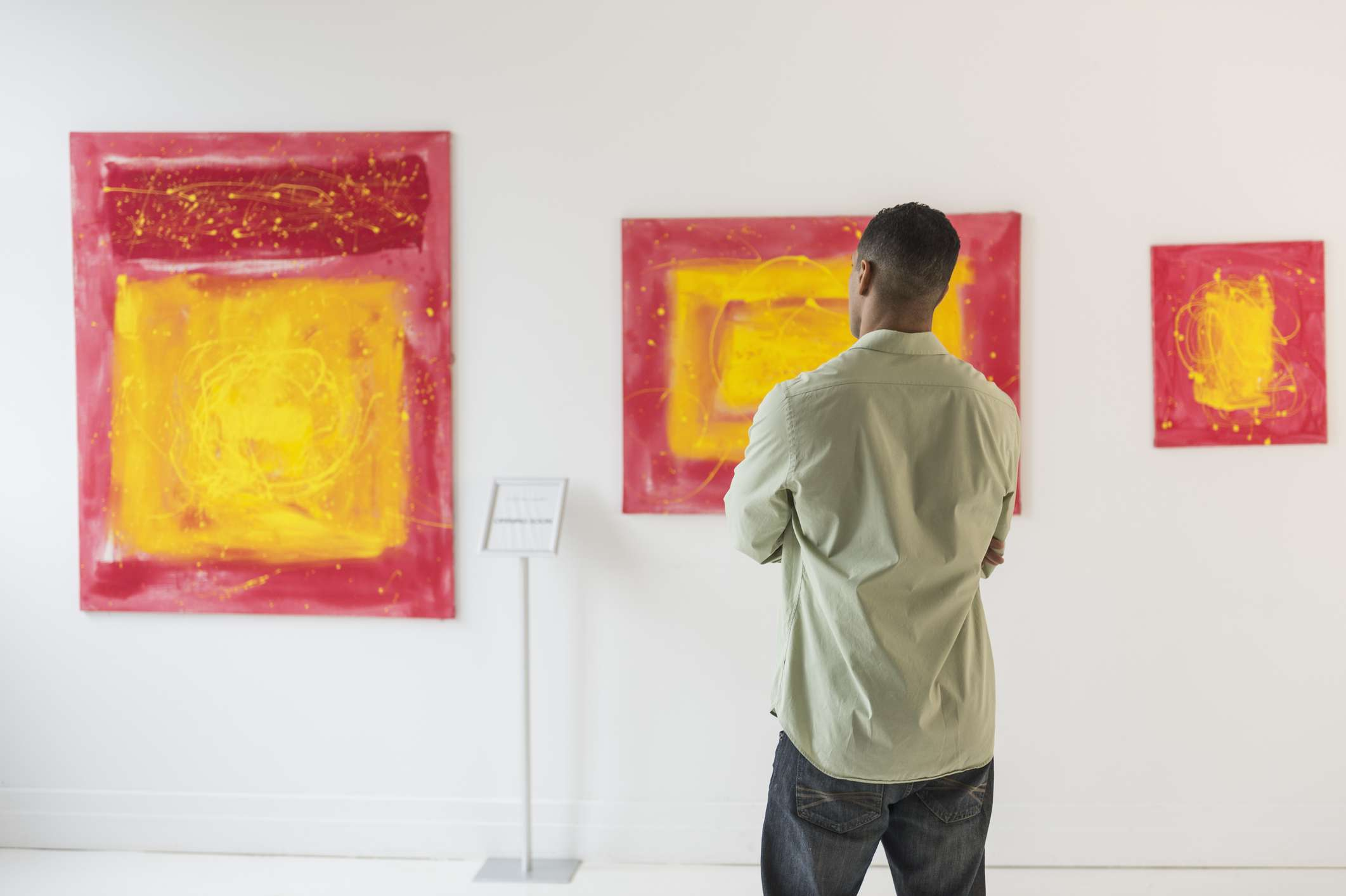Man in modern art museum