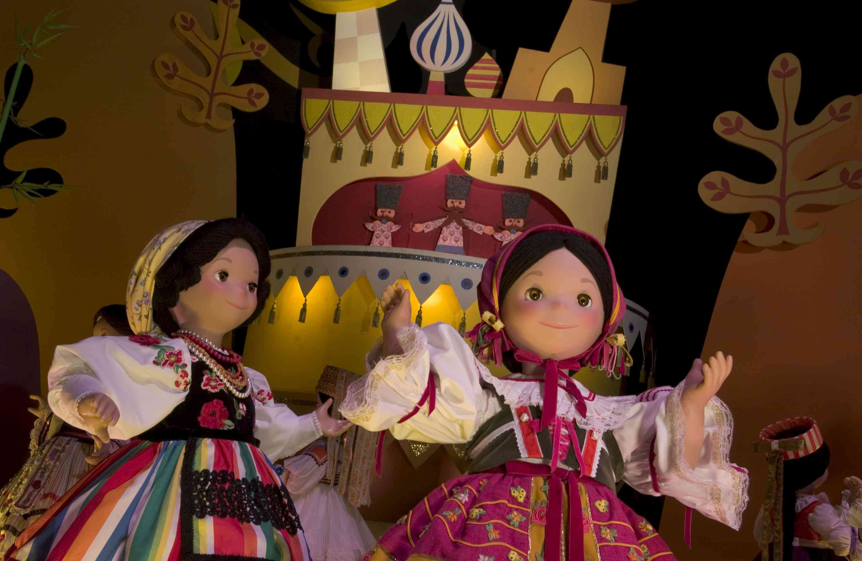 Two It's a small world dolls at Magic Kingdom