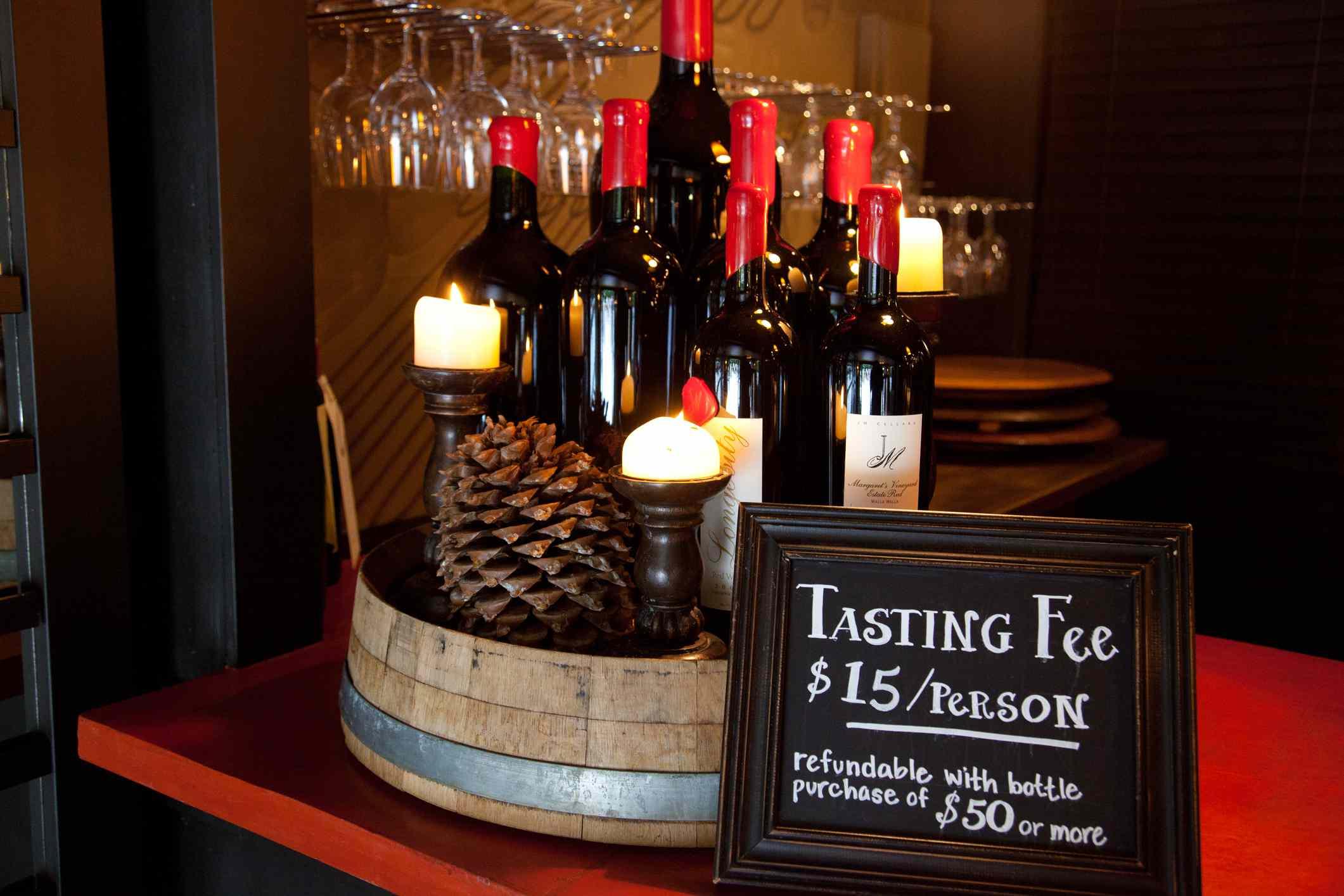 Wine tasting display