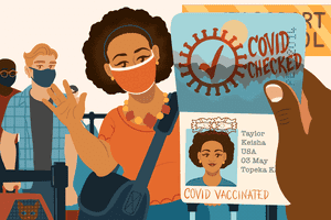 Illustration showing a Covid Vaccine on a passport