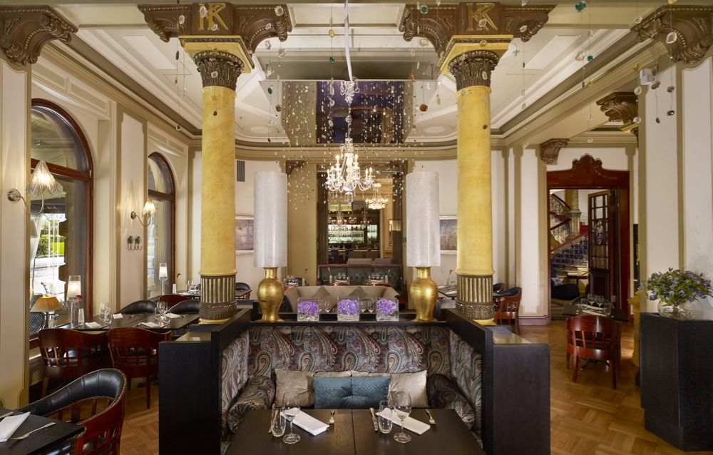 Elegant lobby bar of Hotel Kämp in Helsinki, FInland
