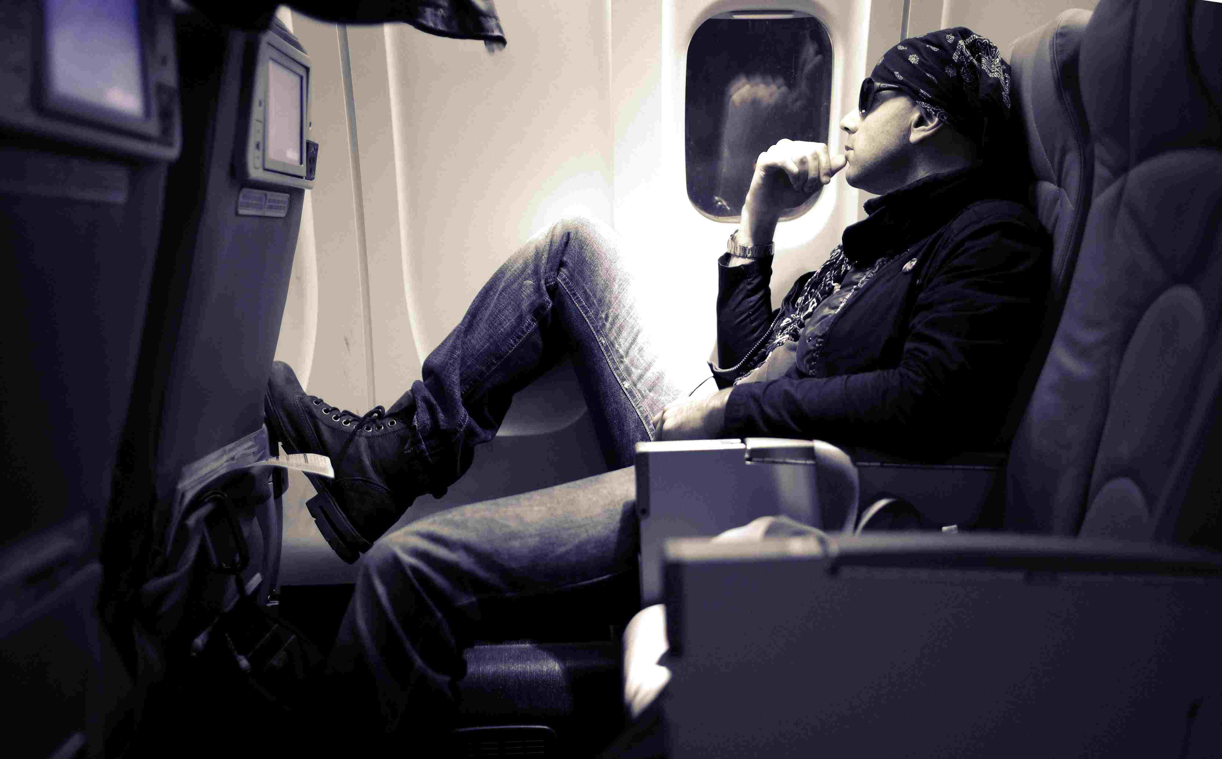 Man sitting in an airplane