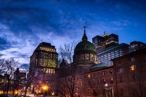 Skyline of downtown Montreal in early spring at dusk, Canada.