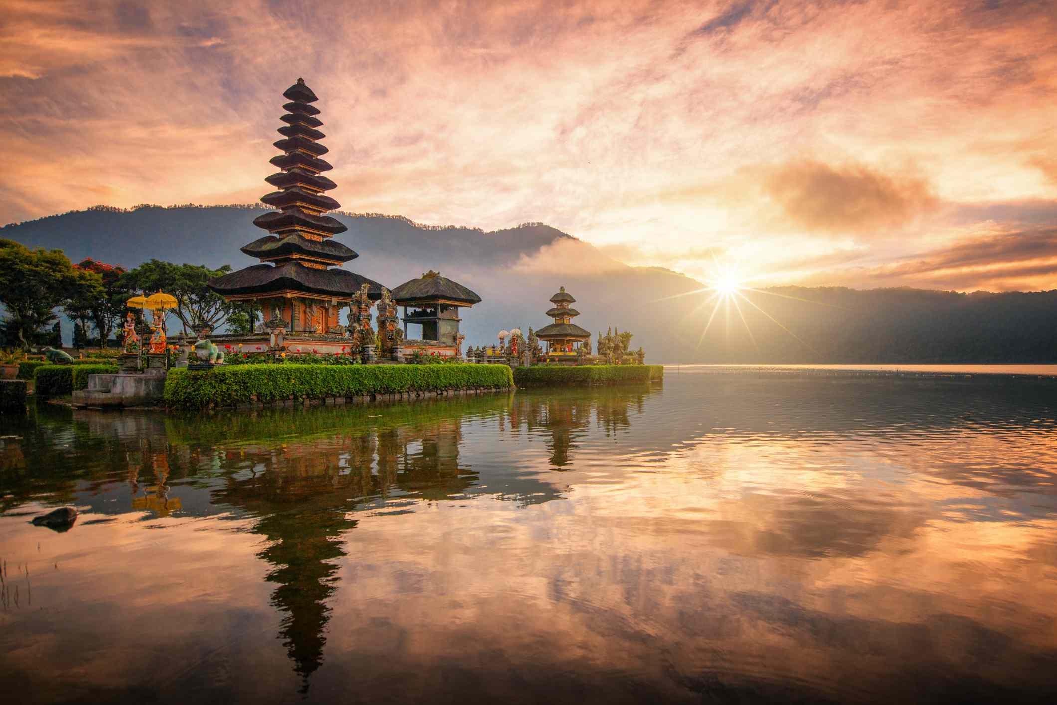Pura Ulun Danu Bratan, Hindu temple on Bratan lake landscape, one of famous tourist attraction in Bali, Indonesia