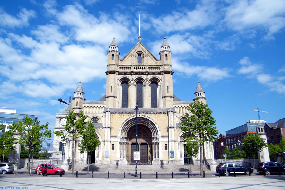 "Belfast's Saint Anne's Cathedral - the enormous ""Spire of Hope"" is just about visible from this angle."