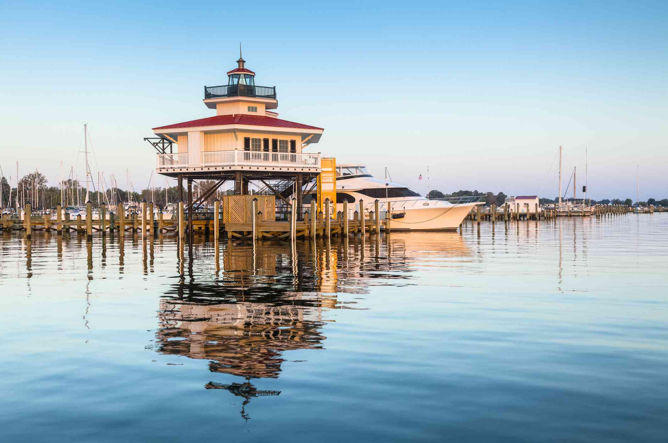 The Choptank River Lighthouse, situated at the end of Pier A at Long Wharf Park in Cambridge, Maryland,