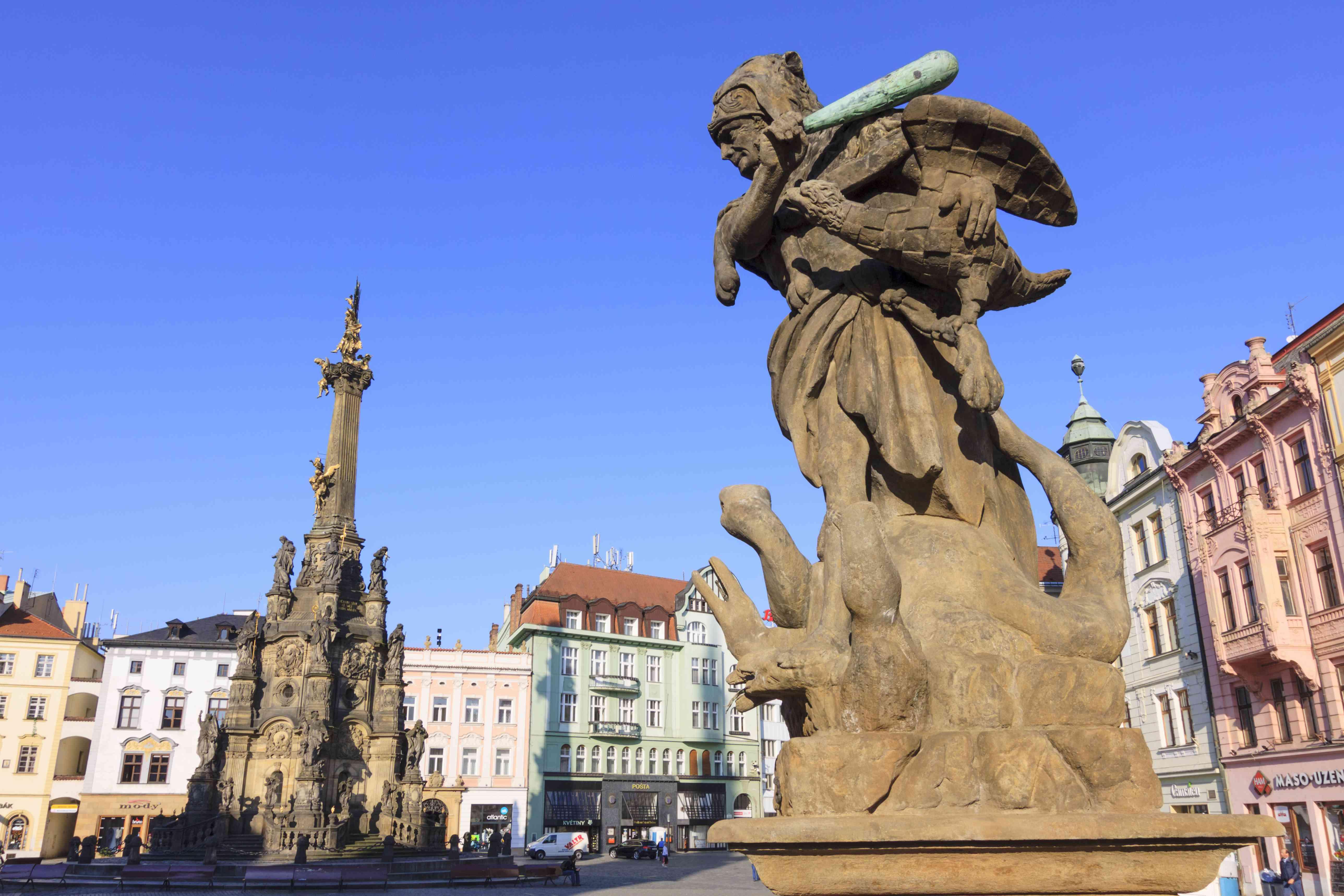 Hercules fountain and Holy Trinity Column at Olomouc´s main aquare