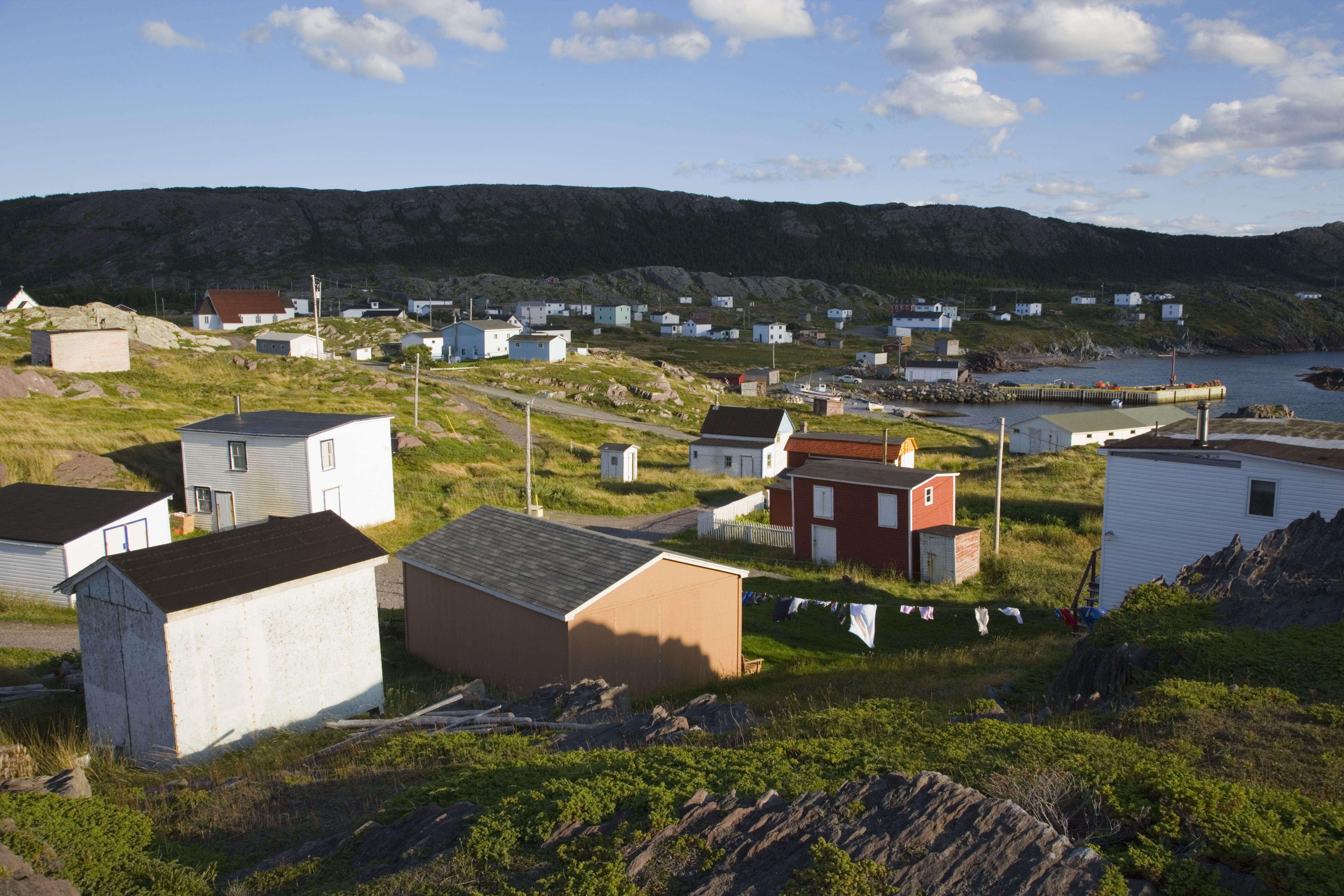 Fishing village on coastline of newfoundland