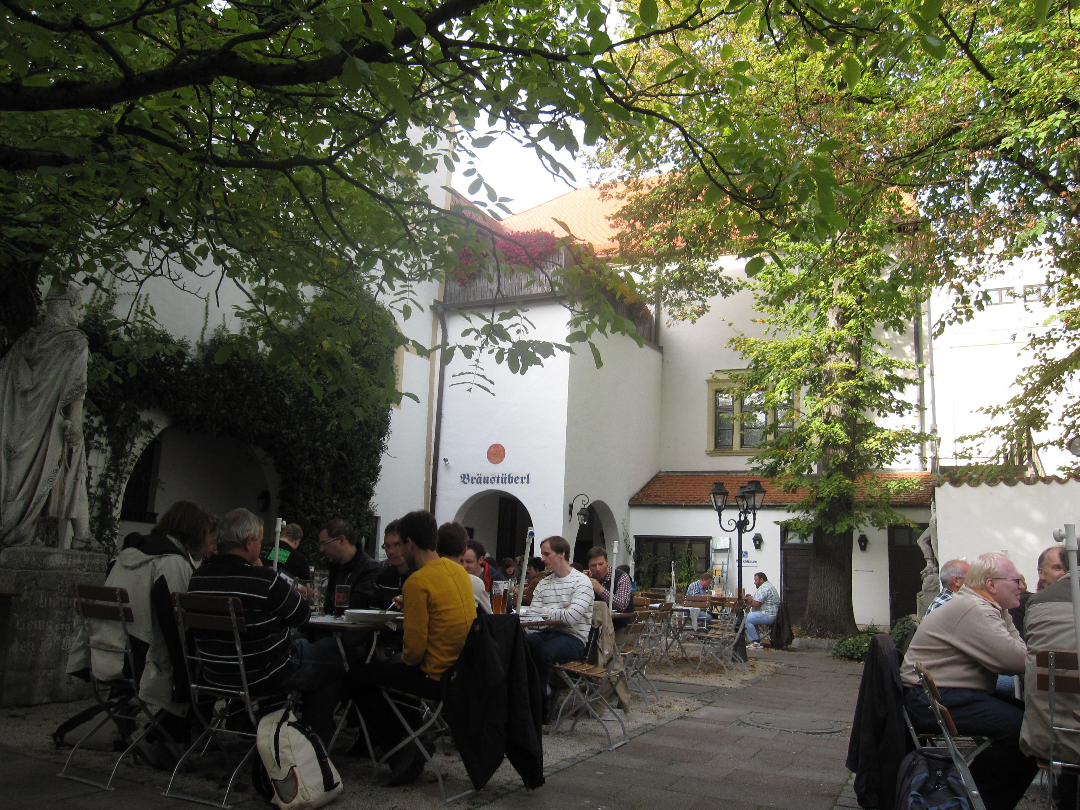 View from the biergarten of Weisses Brauhaus in Germany.