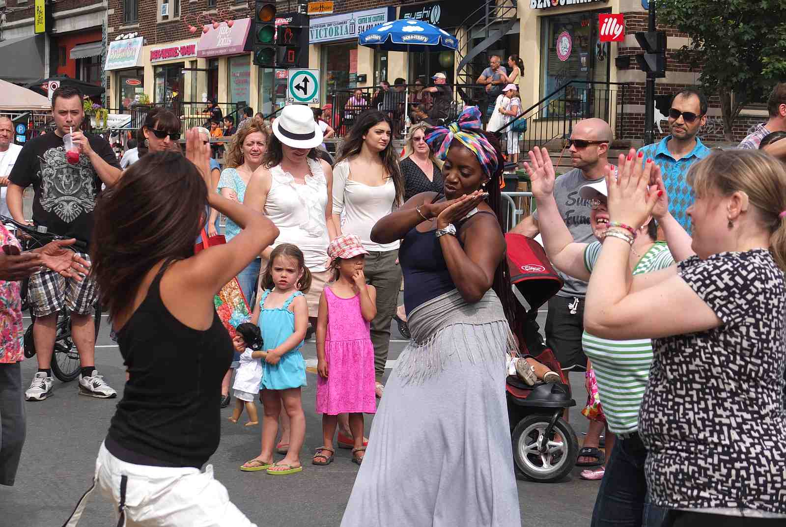 People dancing in the streets of Montreal over Labour Day weekend.