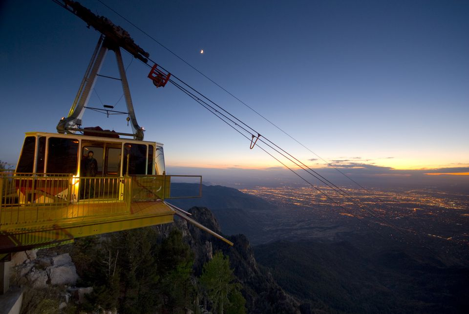 Albuquerque from Sandia Mountains and Sandia Peak Tramway, New Mexico