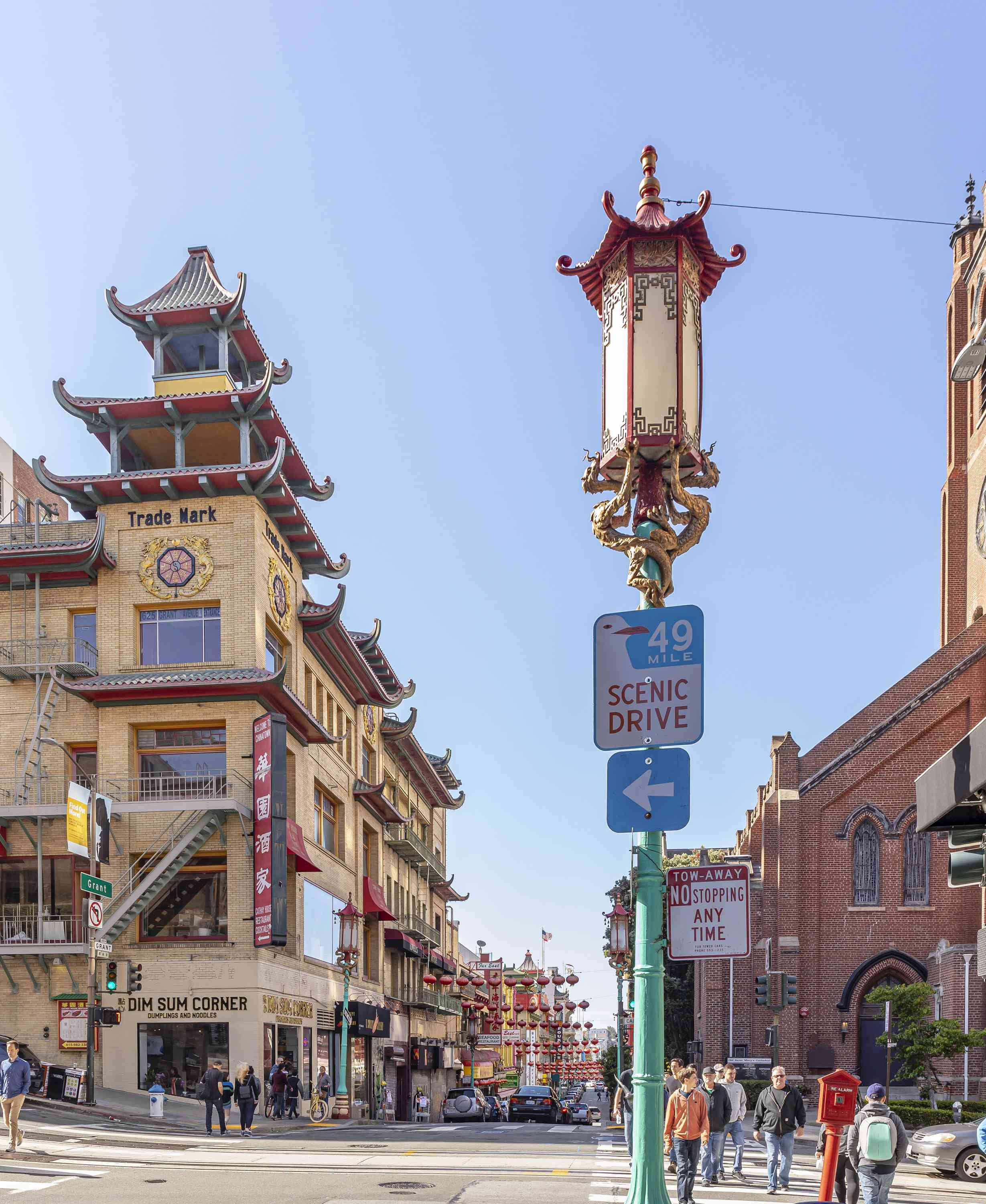 A sign for the 49 Mile scenic drive in Chinatown
