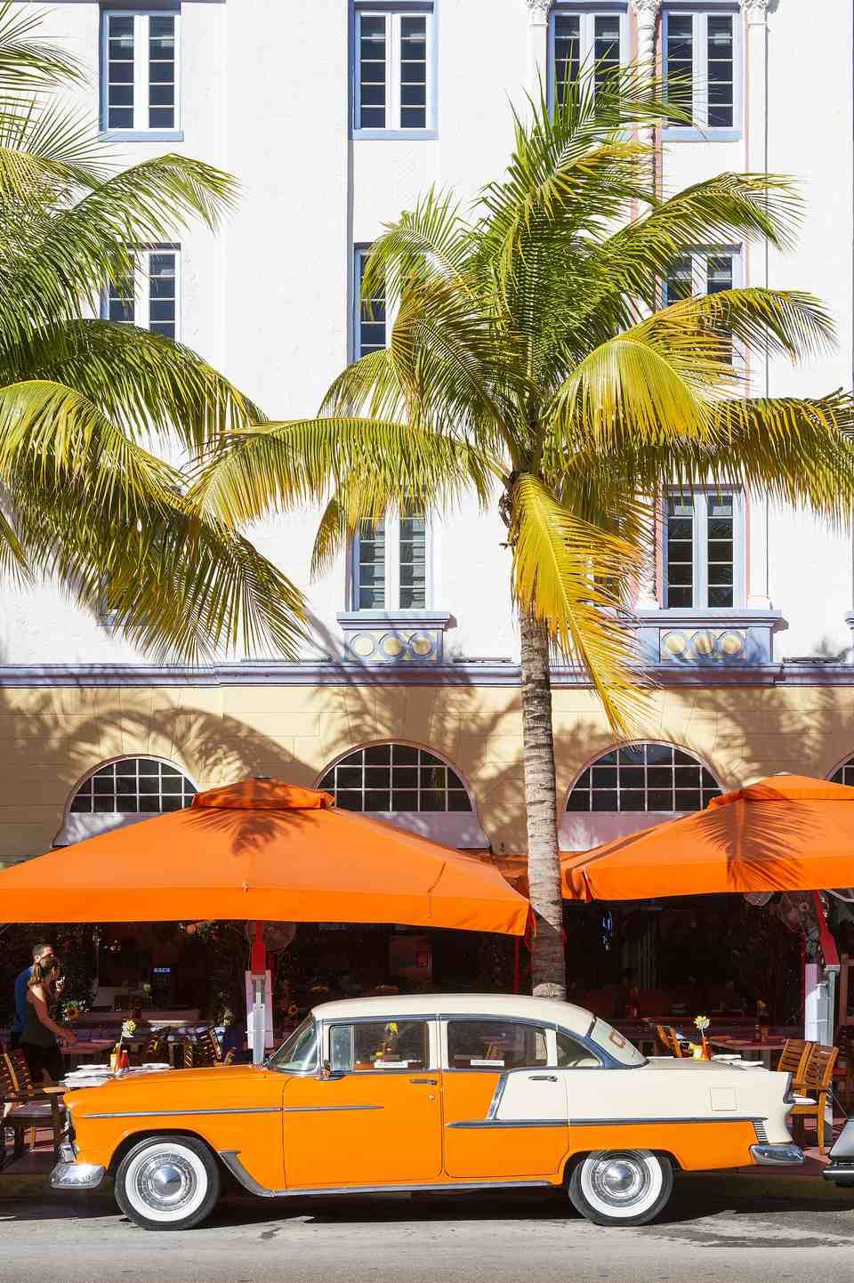 Vintage car in South Beach, Miami