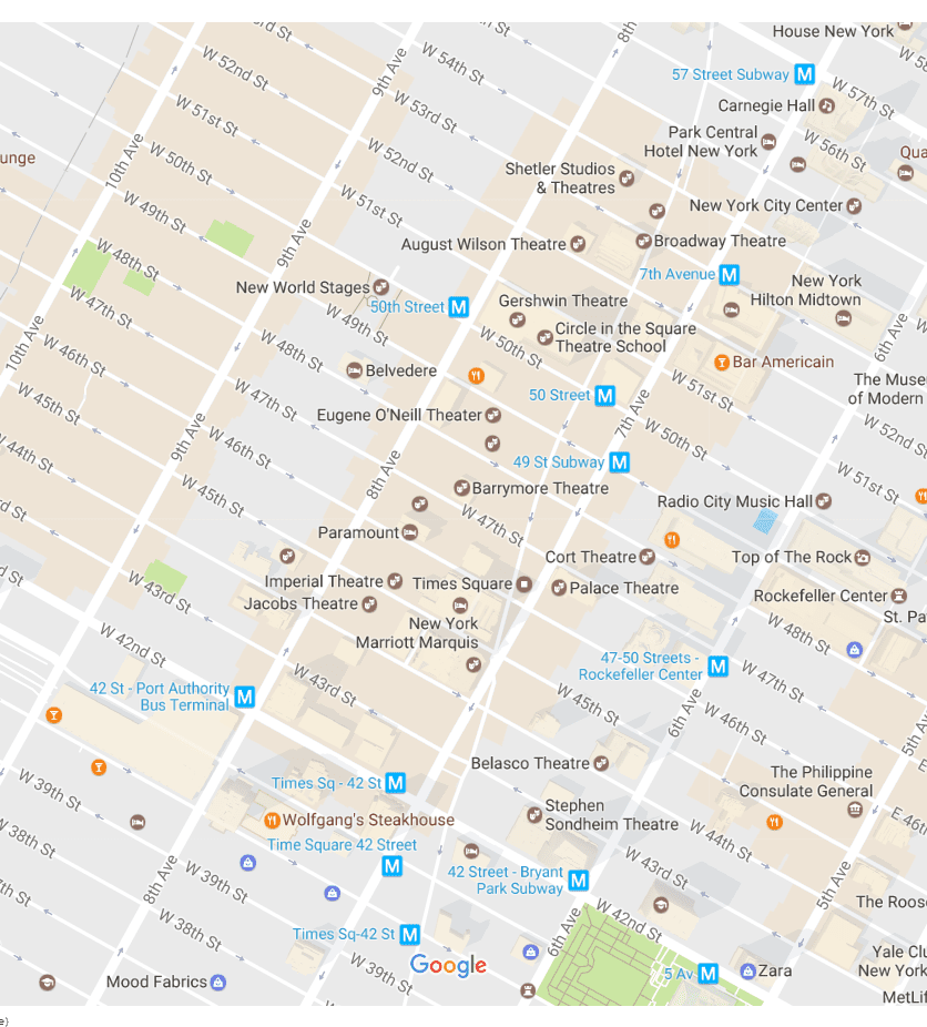 Map Of New York Rockefeller Center.New York City Times Square Neighborhood Map