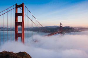 Golden Gate Bridge Over San Francisco Bay In Foggy Weather