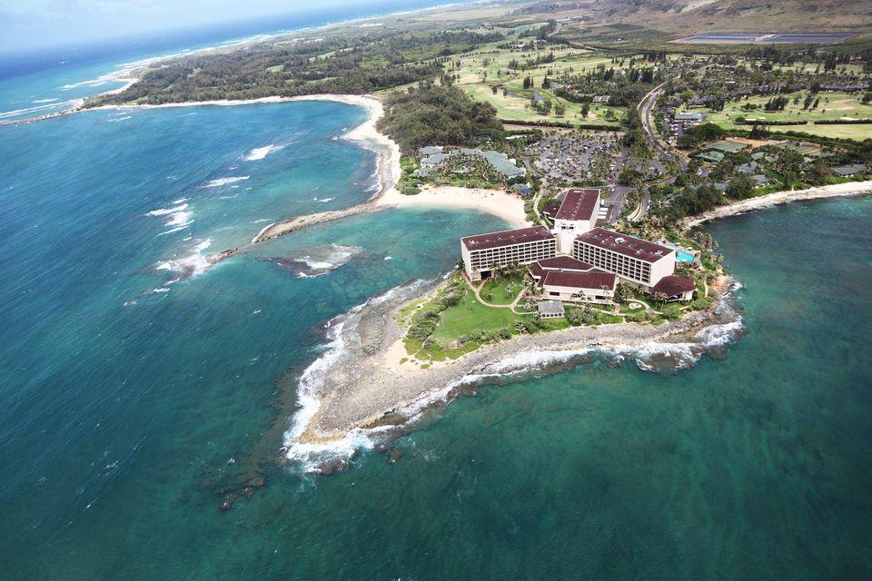 'Aerial view of Turtle Bay, North side of Oahu, Hawaii.'