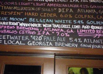 Beer menu at the Amsterdam Cafe in Atlanta.