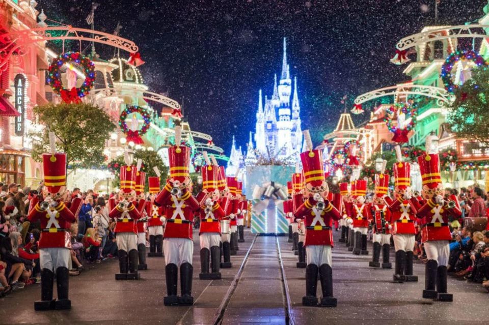 Toy soldiers parade down Main Street, U.S.A during Mickey's Once Upon a Christmastime Parade.