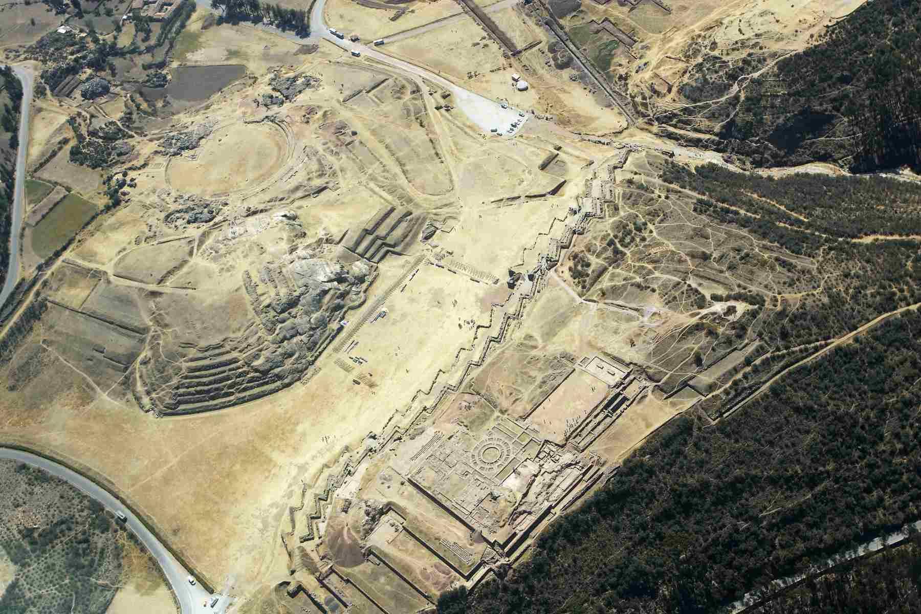 Aerial photo of Saqsaywaman, Cusco.